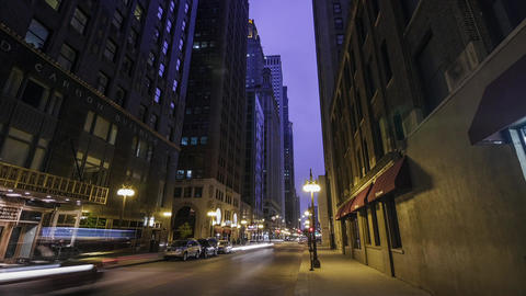 Chicago City Sunset Night Street Scene Timelapse Footage
