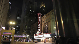 Chicago City Night Street Scene Footage