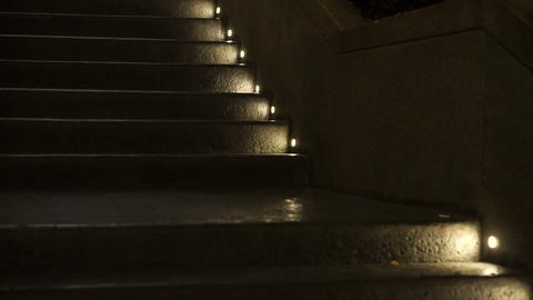 Step light at night lit on raw concrete texture Footage