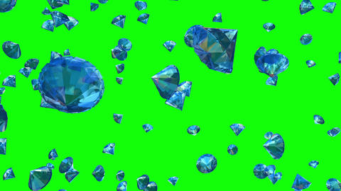 Diamonds Falling on Greenscreen (Loop) Animation