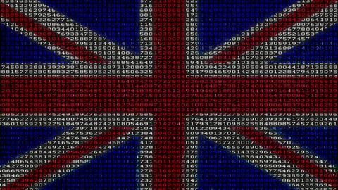 Cyber UK Flag - Digital Data Code Matrix Animation