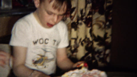 1961: Birthday boy wears WOC TV station helicopter shirt Footage