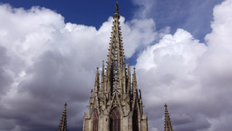Main steeple of Gothic Cathedral, view from roof, tilt up shot, observation deck Footage