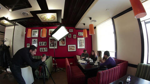 film set: advertising shoot in cafe Live Action