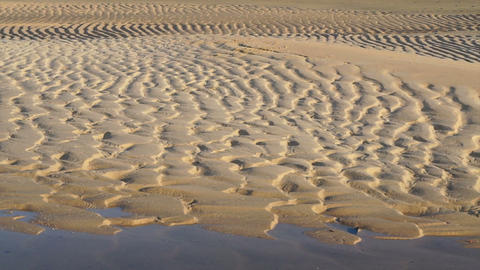 ridges and furrows on the beach. wet sand at the beach showing form after tide Footage