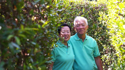 video of Asian senior couple smiling in the garden behind green bush Footage