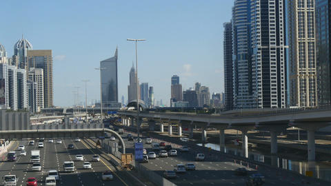 Commuter traffic through central Dubai Footage