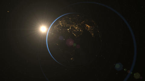 Earth from Space rotating. Night side. Earth timelapse. Loop Animation