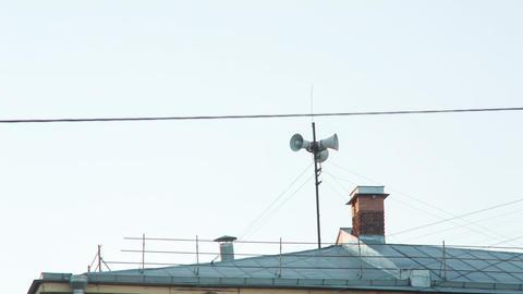 Vintage Loudspeaker On The Roof Footage