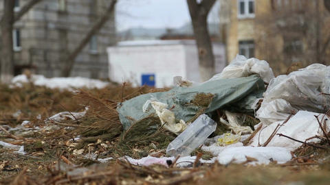 Dirty city, piles of garbage Footage