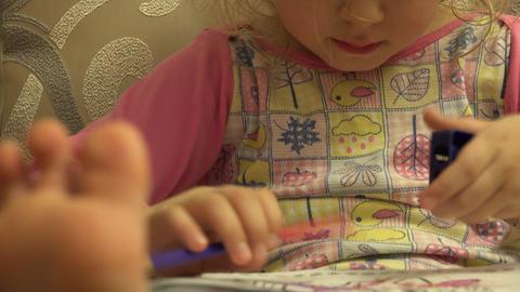Cute Beautiful Girl Prepare Pencil for Pencilling, Big Leg in Frame. 4K UltraHD, Live-Action