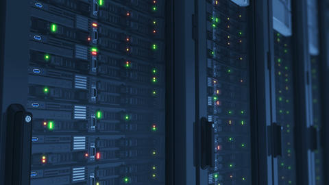 Beautiful Working Servers Close-up in Modern Data Center. Cloud Computing Data Footage