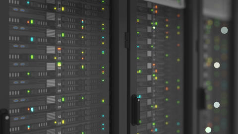 Beautiful Close-up Servers in Modern Data Center. Heavy 3d Rendering. Cloud Footage