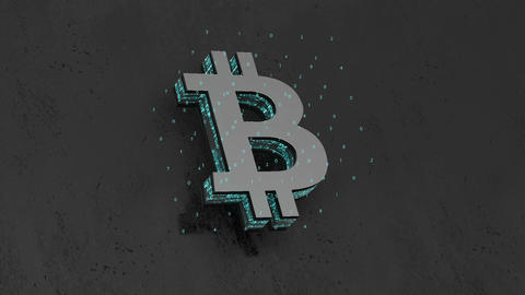 logo bitcoin. matrix of numbers. minimalistic design. cinematic background Footage