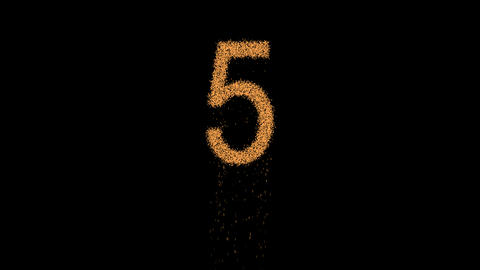 arabic numerals 5 appears from the sand, then crumbles. Alpha channel Animation