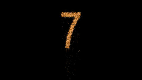 arabic numerals 7 appears from the sand, then crumbles. Alpha channel Animation