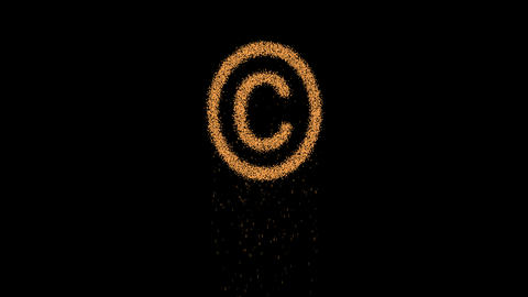 Copyright Sign appears from the sand, then crumbles. Alpha channel Premultiplied Animation