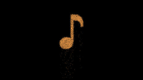 Eighth note appears from the sand, then crumbles. Alpha channel Premultiplied - Animation