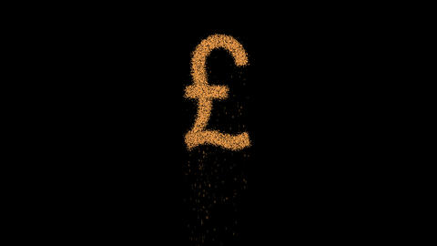 Pound Sign appears from the sand, then crumbles. Alpha channel Premultiplied - Animation
