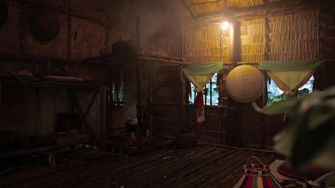 Borneo. Malaysia. Village. Interior of house without chimney 影片素材