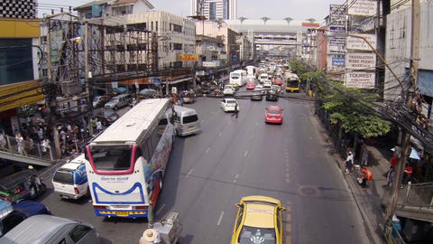City street with the usual traffic. Bangkok. Thailand Footage