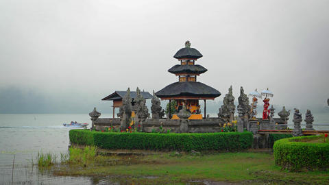 Pura Ulun Danu Bratan temple on lake. Bali. Indonesia Footage