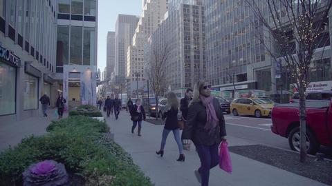 Pedestrian sidewalk in NY Footage