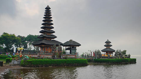 Old Pura Ulun Danu Bratan temple at the lake in Bali. Indonesia Footage