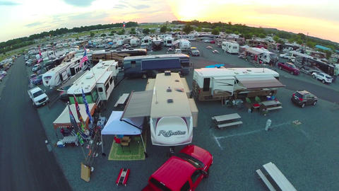 Drone lifts off at trailer park Footage