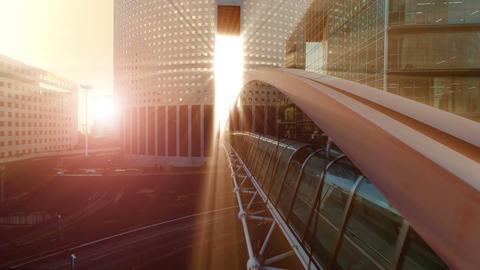 Epic scenery sun beam light sun rays bridge building Live Action