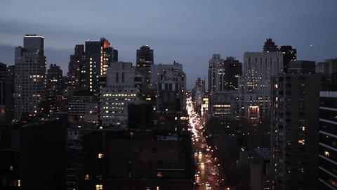 New york city at night aerial view skyline tracking shot Live Action