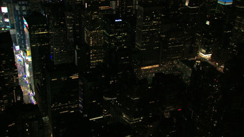 Night aerial pan times square to empire state building Live Action