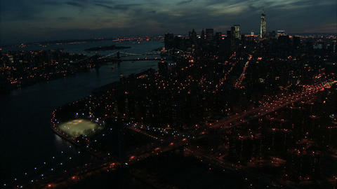 Nighttime nyc manhattan aerial Live Action