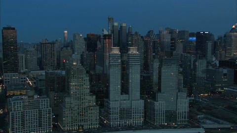 Nyc day break skyline aerial Live Action