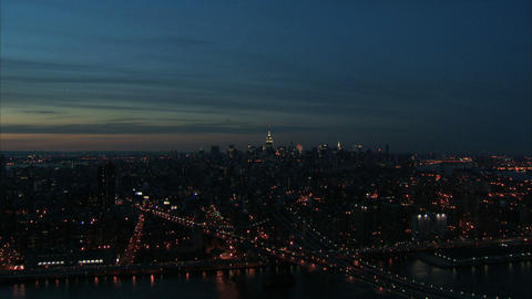 Scenic nyc nightlife skyline aerial Live Action