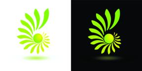 Abstract green yellow logo on white and black background ベクター