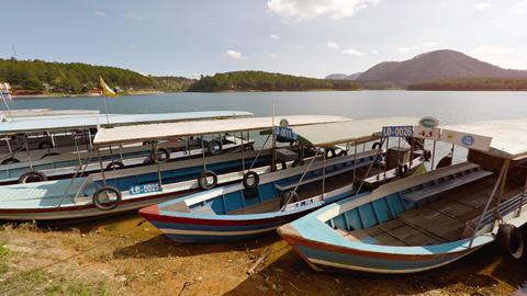 Pleasure boats on the lake shore. Nha Trang. Vietnam Footage