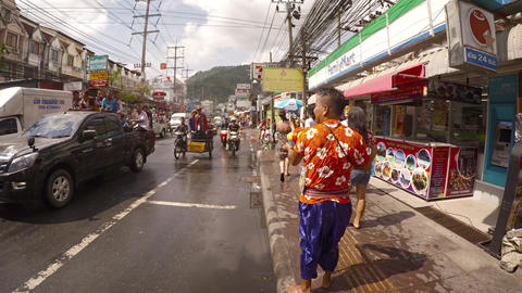 Funny water streets war during Songkran festival. Thailand Footage
