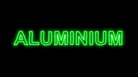 Neon flickering green Element of periodic table ALUMINIUM in the haze. Alpha Animation