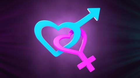 Gender symbols of Mars and Venus vibrate Animation
