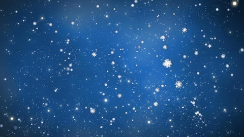 Christmas Background - Glowing Snow Particles - Blue Background Animation