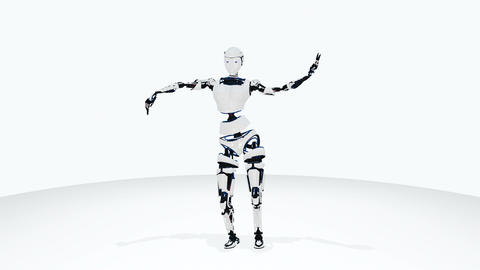 Sexy robot android woman dancing. Sci-fi stylish robotic girl. Cute robot woman Image