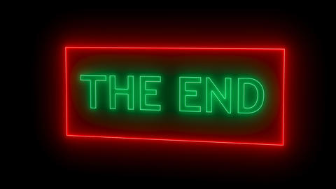 THE END Sign in Neon Style Footage