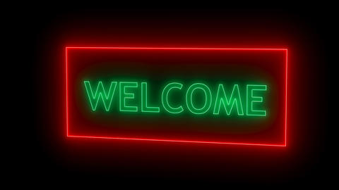 Neon sign. Welcome neon Footage