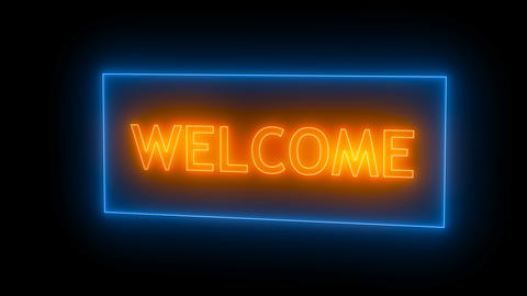 Neon sign. Welcome neon Live Action