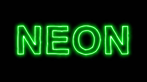 Neon flickering green Element of periodic table NEON in the haze. Alpha channel Animation