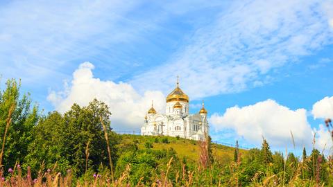 Belogorsky St. Nicholas Orthodox-Missionary Monastery. Russia, Perm Territory, Footage