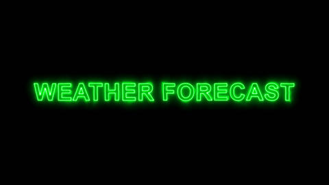 Neon flickering green common expression WEATHER FORECAST in the haze. Alpha Animation