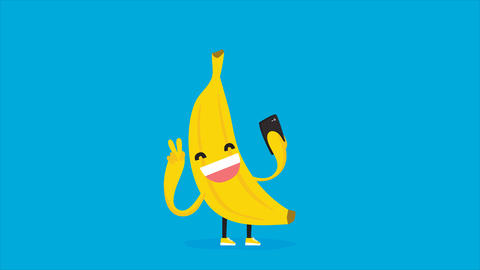 Cute kawaii banana taking selfie with mobile phone. HD cartoon animation on blue Filmmaterial