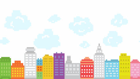 Pixel art style city with animated clouds. Retro game buildings location. HD Archivo